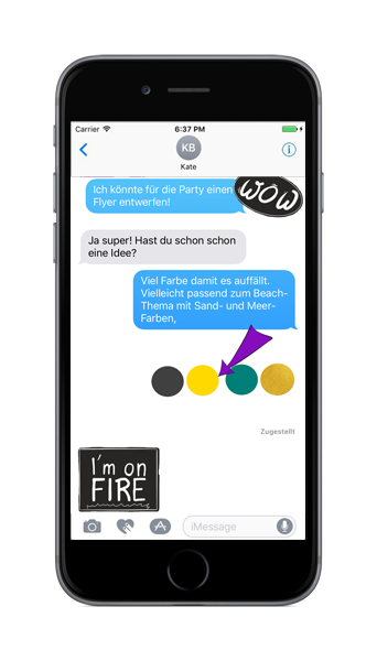 Sticker in iMessage - I'm on fire